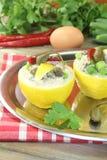 Stuffed Lemons with tuna cream Royalty Free Stock Photos