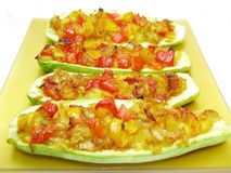 Stuffed Marrow Vegetable And Tomatoes Royalty Free Stock Photo