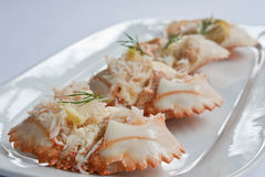 Stuffed Mini Crab. Min crab shells stuffed with dressed crabmeat and garnished with lemon and dill Stock Photography