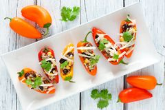 Stuffed mini peppers on a white plate and light background Royalty Free Stock Photography