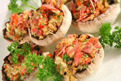 Stuffed mushrooms 1. A group of stuffed portabello mushrooms, ready for the oven Stock Image