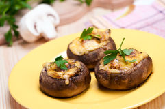 Stuffed mushrooms with cheese. Stock Image