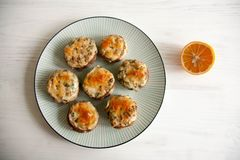 Stuffed mushrooms. With cheese and herbs Stock Image