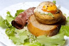 Stuffed mushrooms with egg Royalty Free Stock Photo