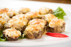 Stuffed mushrooms filled. Photo for a design Royalty Free Stock Image