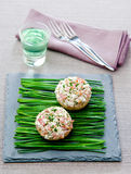 Stuffed Mushrooms. With onion on a stone plate Royalty Free Stock Photography