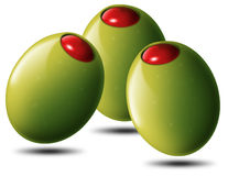 Stuffed olives. Illustration of 3 stuffed green olives, tomato or chili Stock Photos