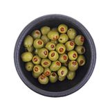 Stuffed Olives in Black Bowl Stock Image