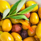 Stuffed olives with an olive branch lie on plate, closeup Stock Image