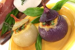 Stuffed onions with goat cheese Royalty Free Stock Photo