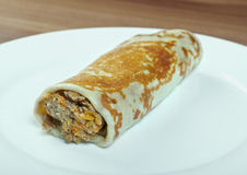 Stuffed pancake with beef Royalty Free Stock Photography