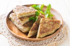 Stuffed pancake or pan-fried bread murtabak Stock Photos