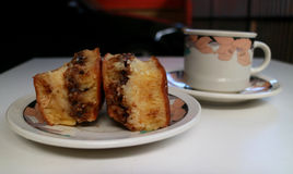 Stuffed Pancake. Sweet martabak or stuffed pancake and a cup of tea from Indonesia Royalty Free Stock Photography