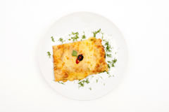 Stuffed pancake. Top View Selective Focus White background Stock Image