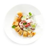 Stuffed pancake and vegetable salad Royalty Free Stock Photos