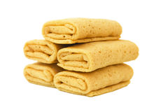 Stuffed pancakes. On white background Royalty Free Stock Photos