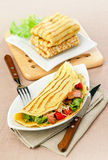 Stuffed pancakes. With ham cheese and vegetables Royalty Free Stock Photography