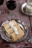 Stuffed pancakes crepes with meat and bechamel Stock Photography
