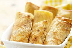 Stuffed pancakes crepes Stock Image