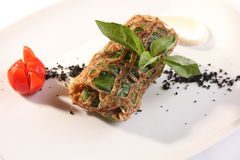 Stuffed pancakes with leek Stock Images