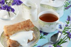 Stuffed pancakes with sour cream Breakfast Violet decor royalty free stock photography