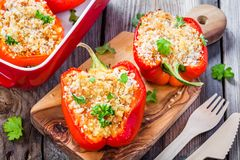 Stuffed paprika with breadcrumbs and parsley Royalty Free Stock Photography