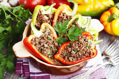 Stuffed paprika with meat. On the table Stock Image
