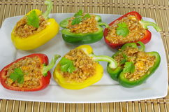 Stuffed paprika with meat and vegetables Stock Image