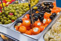 Stuffed paprika and olives Royalty Free Stock Photography