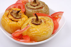 Stuffed paprika and pepper on a plate Royalty Free Stock Photography