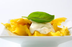 Stuffed pasta with cheese sauce Royalty Free Stock Image
