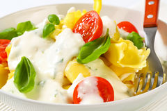 Stuffed pasta with cheese sauce Royalty Free Stock Photos