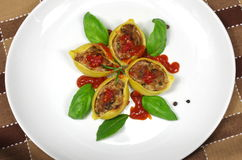 Stuffed pasta shells Royalty Free Stock Images