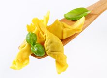 Stuffed pasta on wooden spatula Royalty Free Stock Image