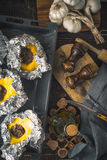 Stuffed pattypan on the  backing sheet vertical Stock Photography