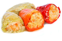 Stuffed pepped. Pepper stuffed with cabbage, carrots and onion Stock Photo