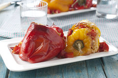Stuffed pepper. Italian stuffed pepper with rice and tomato Royalty Free Stock Images