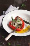 Stuffed pepper on plate Stock Image