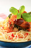 Stuffed pepper and spaghetti Royalty Free Stock Image