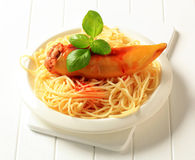 Stuffed pepper and spaghetti Stock Photography