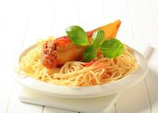 Stuffed pepper and spaghetti Stock Image