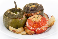 Stuffed pepper and tomato with rice Royalty Free Stock Photo