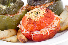 Stuffed pepper and tomato with rice Stock Image