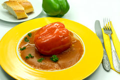 Stuffed pepper with tomato sauce Royalty Free Stock Image