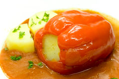Stuffed pepper with tomato sauce Royalty Free Stock Photography