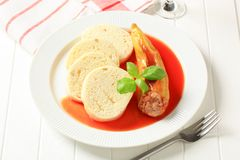 Stuffed pepper with tomato sauce and dumplings Royalty Free Stock Photos