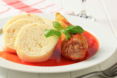 Stuffed pepper with tomato sauce and dumplings Royalty Free Stock Photo