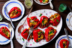 Stuffed Pepperoncini with a mozzarella, a pancetta and bread. Italian appetizer. Stock Images