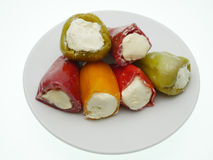 Stuffed peppers with cheese. Colorful small bell peppers stuffed with cheese Royalty Free Stock Photos