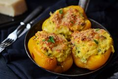Stuffed peppers. With cornmeal and cheese Royalty Free Stock Image